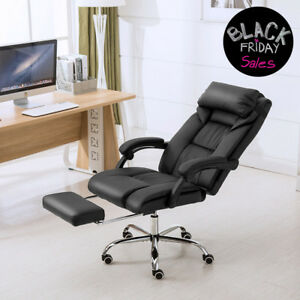 High Back Executive Swivel Office Chair Race Car Seat Pu Leather W footrest