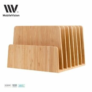 Mobilevision Bamboo Desktop File Folder Organizer And Paper Tray 7 Slots