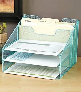Blue 5 compartment Desktop File Organizer
