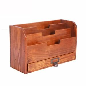 Pine Wood Office Desk File Organizer Mail Sorter Tray Holder 3 Compartment