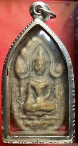 Thai Amulet Phra Khun Plan W Clay With Stainless Steel Case Fm 1