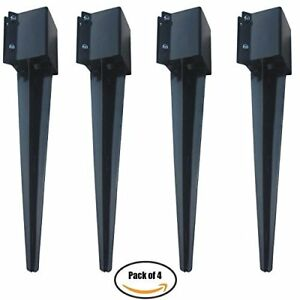 Mtb Fence Post Anchor Ground Spike Metal Black Powder Coated 24 x4 x4 Pack Of