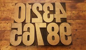 3 5 16 Vintage 0 9 Letterpress Wood Type Print Block Matching Numbers 10 Pcs