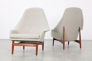 Set Of Two High Back Lounge Chairs By Ib Kofod Larsen 1957 Sessel 60er
