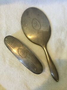 Vintage Sterling Silver Hand Mirror And Brush Vanity Set Initial B Engraved