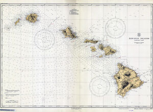 1935 Nautical Map Of The Hawaiian Islands