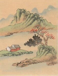 Hand Painted Japanese Miniature Ink Drawing W House Hills On Rice Paper C1930s
