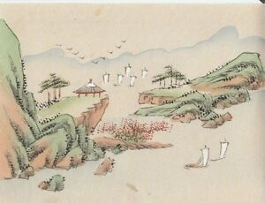 Hand Painted Japanese Miniature Ink Drawing With Sailboats On Rice Paper C 1930s