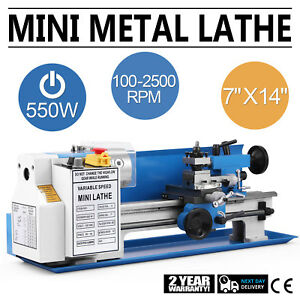 550w Precision Mini Metal Lathe Metalworking 7 x14 Variable Speed Drilling