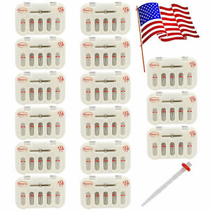 Usa 15 Packs Dental Fiber Post Resin Post With Drills Screw Thread Quartz Red