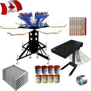 6 Color Screen Printing Kit With Flash Dryer Ink Squeegee Silk Screen Press
