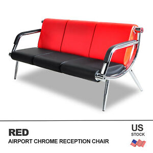 3 seat Office Waiting Chair Airport Bench Reception Pu Leather Guest Sofa Red