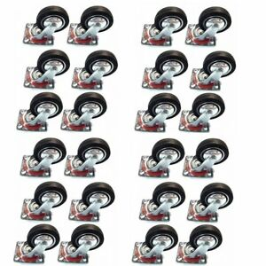 Online Best Service 24 Pack 3 Swivel Caster Wheels Rubber Base With Top Plate