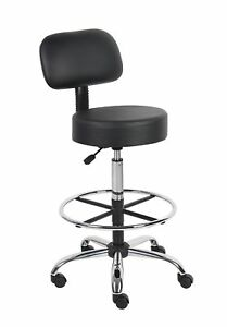 Boss Office Products B16245 bk Be Well Medical Spa Drafting Stool With Back
