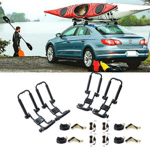 2 Pair Canoe Boat Folding Kayak Roof Rack Car Suv Truck Carrier W Ratchet Strap