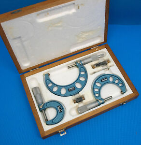 New Nsk Fowler 0 3 Micrometer Set With Standards And Case Made In Japan