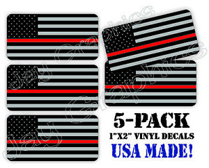 5 pack Thin Red Line American Flags Hard Hat Decals Helmet Stickers Firefighter