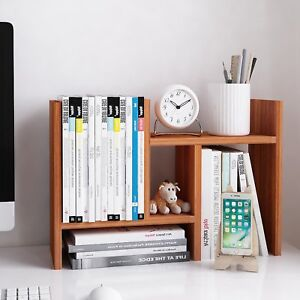Wood Desktop Organizer Modern Office Storage Rack With Adjustable Shelf Display