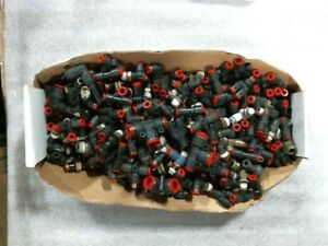 Huge Lot Of 15lbs Of Miscellaneous Smc Red 1 4 1 2 Push In One Touch Fittings