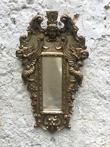Antique Cast Gesso And Gilt Italian Mirror