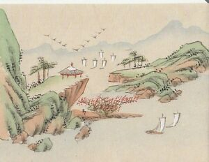 Hand Painted Japanese Miniature Ink Drawing W Sailboats On Rice Paper C1930s