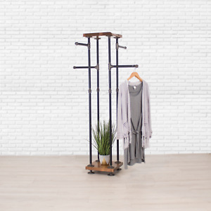 Industrial Pipe And Wood Shelf Clothes Rack 4 way Garment Rack Clothing Rack