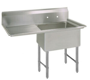 Bk Resources One 18 x18 x12 Compartment Sink S s Leg 18 Left Drainboard