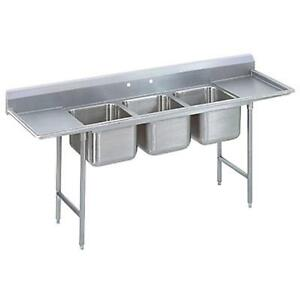 Advance Tabco 3 Comp Sink 18 Gauge 16 x20 Bowls S s Two 18 Drainboards