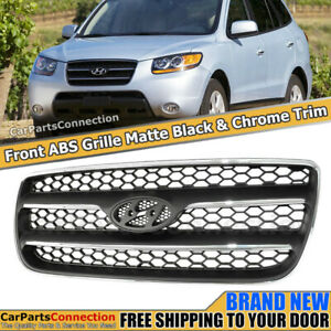 Front Grille For Hyundai Santa Fe 2007 2009 Black Chrome Bolt On Replacement