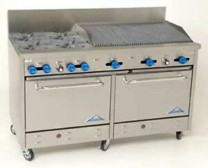 Comstock Castle 60 Commercial 4 Burner Gas Range W 36 Broiler