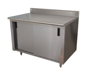 Advance Tabco 120 wx24 d Stainless Steel Cabinet Base W Sliding Doors