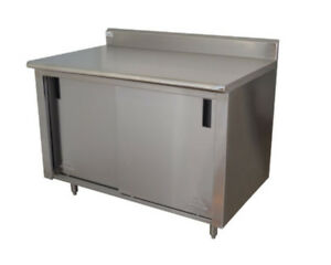 Advance Tabco Ck ss 248m 96 wx24 d Stainless Steel Cabinet Base W Sliding Doors