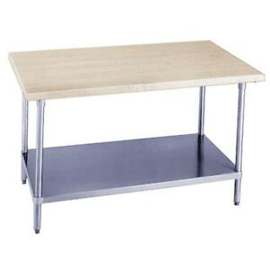 Advance Tabco H2g 308 96 w X 30 d Wood Top Work Table W Galvanized Undershelf