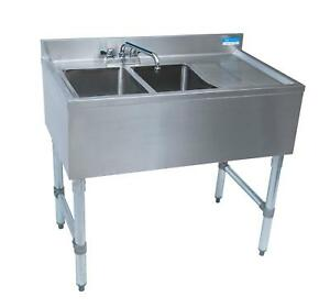Bk Resources 2 Compartment 36 Wide Underbar Sink With Right Drainboard