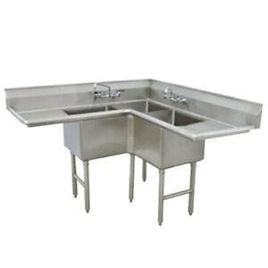 Advance Tabco 3 Compartment Corner Sink 18 x18 x14 Bowl Two Drainboards
