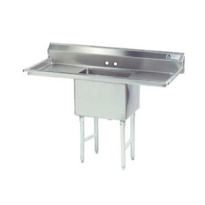 Advance Tabco 1 Compartment Sink 24 x24 x14 Size Bowl 24 Two Drainboards