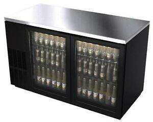 Bk Resources Bb 2g 59 59 Glass Door Back Bar Cooler W Black Vinyl Exterior
