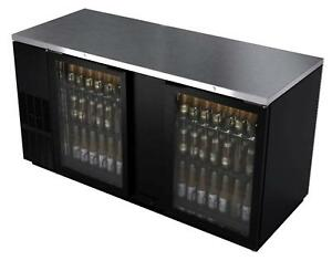 Bk Resources Bb 2g 69 69 Glass Door Back Bar Cooler W Black Vinyl Exterior