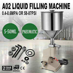A02 Pneumatic Liquid Paste Filling Machine For Cream Shampoo Cosmetic 5 50ml New