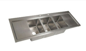 Bk Resources 58 3 10 x14 Compartment Drop in Sink W Drainboards