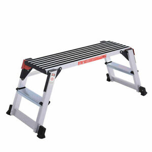 330lbs Aluminum Step Stool Folding Bench Work Platform Non slip Drywall Ladder