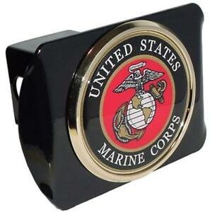 Trailer Hitch Covers United States Us Marine Corps Usmc black With Gold Plated