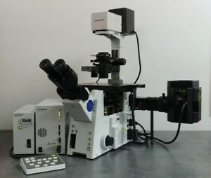 Olympus Microscope Ix81 Motorized With Fluorescence And Dic