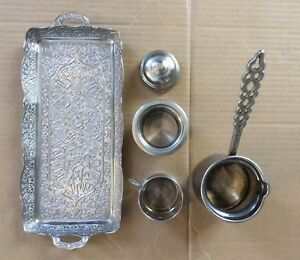 Old Vintage Soysal 5pcs Silver Plate Nice Engraved Tray Tea Coffee Set