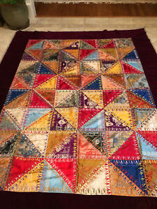 Vintage Silk And Velveteen Hand Stitched Quilt Top