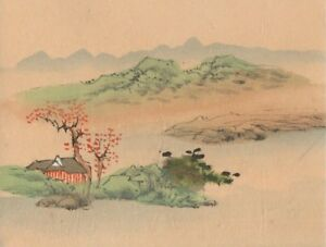 Hand Painted Japanese Miniature Ink Drawing On Rice Paper C 1930s Free Shipping
