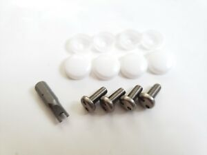 White Caps Bmw Security Anti Theft Auto License Plate Screws Stainless Bolts S