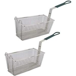 Fryer Basket Set Of 2 13 1 4 X 6 1 2 with Plastic Green Handle