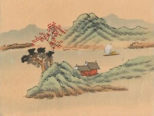 Hand Painted Japanese Miniature Ink Drawing W Sailboat On Rice Paper C 1930s