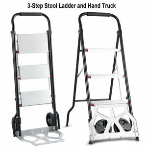 2 in 1 Convertible 3 step Ladder Hand Truck Trolley Cart Folding W Two Wheels